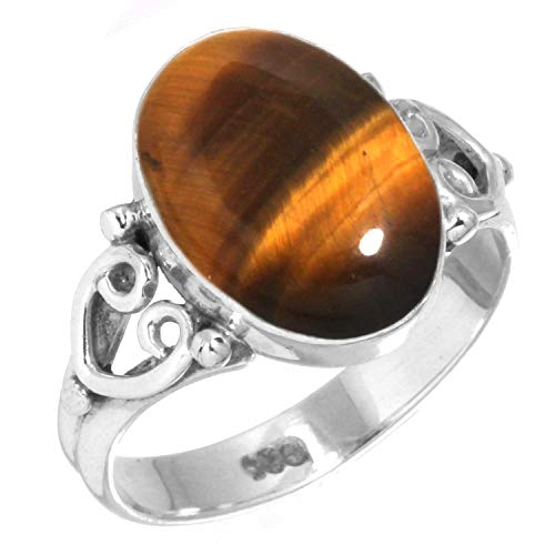 Oval Tigers Eye Cabochon Ring - Natural Tiger Eye Ring 925 Sterling Silver Handmade Jewelry Size 6
