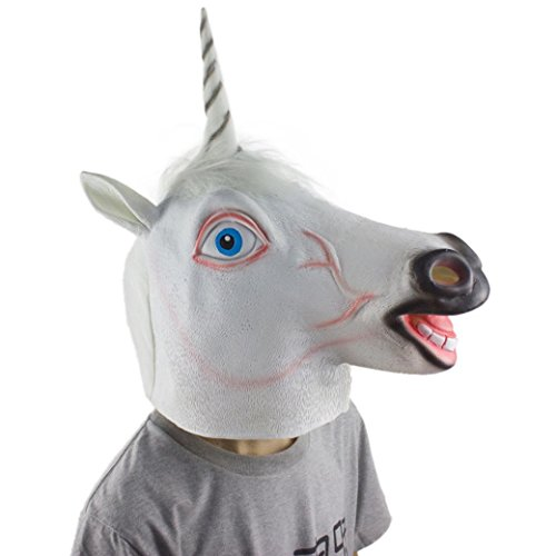 [NXDA Animal Full Head Latex Mask Horror Novelty for Halloween Costume Party Decorations-Unicorn (unicorn)] (Asian Animal Costumes)