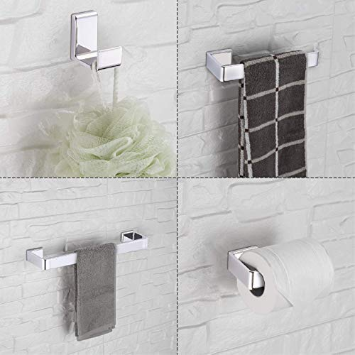 Accessory Set Finish - Cloudy Bay Towel Bar Sets,Bathroom Hardware Accessories with Towel Bar,Toilet Paper Holder,Towel Rod,Robe Hook,Pack of 4,Chrome Finish