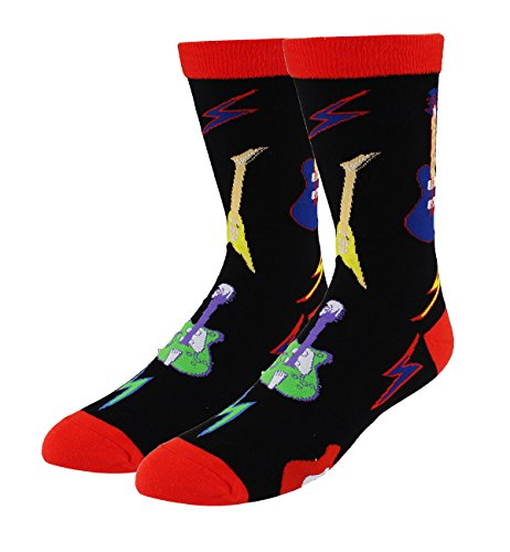 Men's Novelty Guitar Crew Funny Guitar Socks Colorful Funky Fancy Music Dress Cotton Music Socks in Black