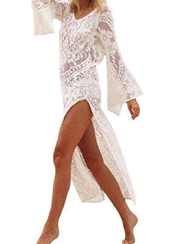 Dividere Backless Vestito A Lunga Coolred Da Bianco Spiaggia Usura donne Pizzo Solido Manica I4qO40w