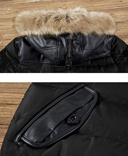 Men's Schwarz Warm Fashion Coat with Hood Longsleeve with Quilted Zipper Jacket Coat Vintage Winter Transition Apparel Fur rPxarw4