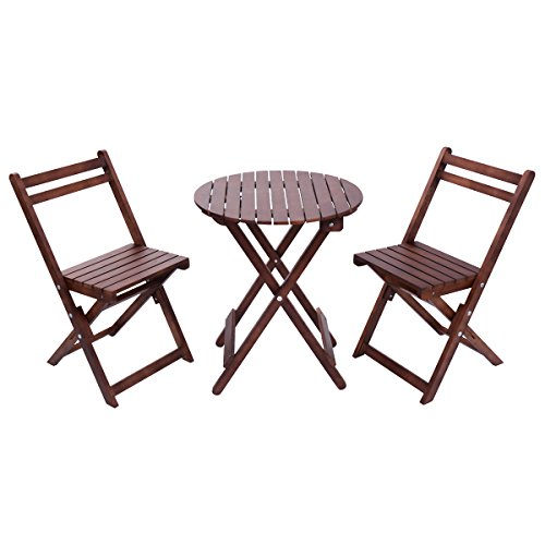 Giantex 3 piece table chair set wood folding outdoor patio for Poolside table and chairs