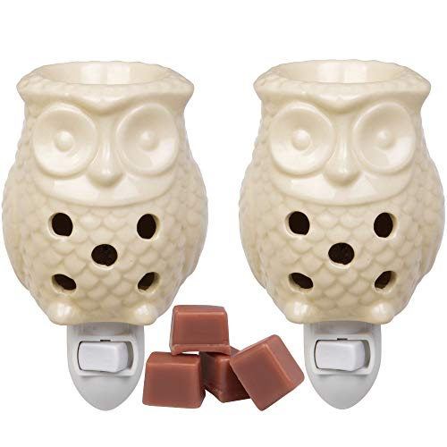 Deco Plug-in Fragrance Wax Melt Warmer, Set of 2 Includes 4 Wax Cubes (5x3) - Owl (Plug Scentsy Bulbs Ins For)