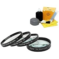 DIGI 62mm +1 +2 +4 +10 Close-Up Macro Filter Set with Pouch For Specific Nikon Lenses (Models Specified In Description) + DIGI TECH Professional 5 Piece Cleaning kit