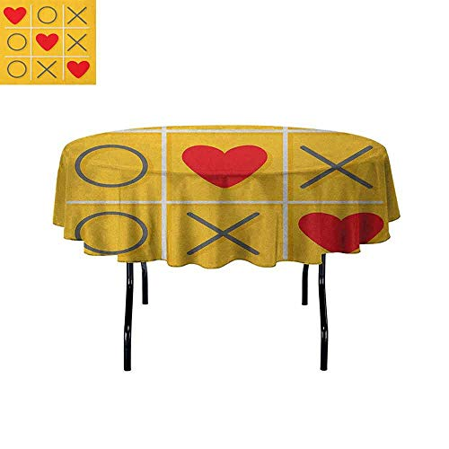 Curioly Love Printed Tablecloth Tic-Tac-Toe Game with XOXO Design Let Me Kiss You Valentines Romantic Illustration Desktop Protection pad D40 Inch Yellow -