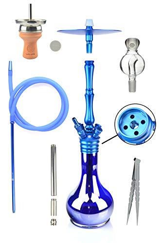 Mata Leon Zaragossa Ink Shisha im Komplettset mit Molassefänger, Aluminium, Blau