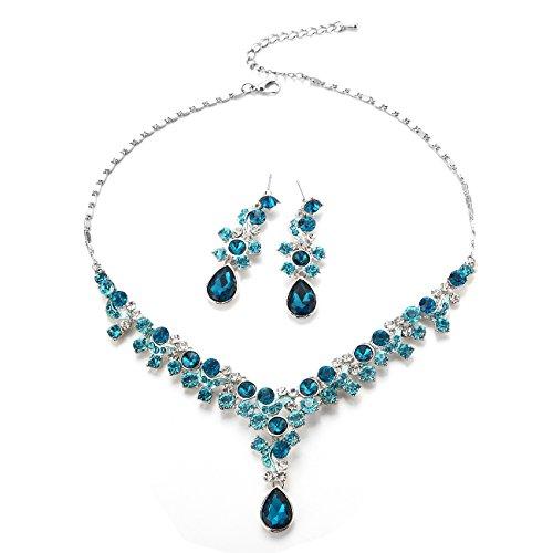 FAYBOX Glamorous Rhinestone Necklace Earrings product image