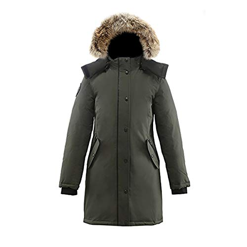 (Triple F.A.T. Goose Alistair Womens Hooded Arctic Parka with Real Coyote Fur (Small, Olive))