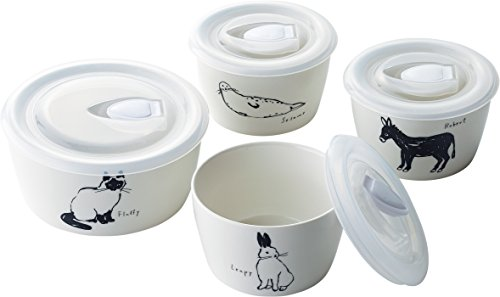 Animal 4 Bowls Set with Silicon Lids , M size x 1/ S size x 3 by maebata