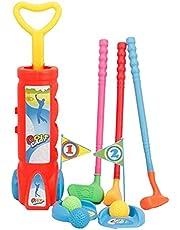 Colcolo Småbarnsleksak golfleksset med plastficka, 2 racketar, 1 putter, 4 bollar, puttningskopp inomhus eller utomhus för småbarn, pojkar och flickor