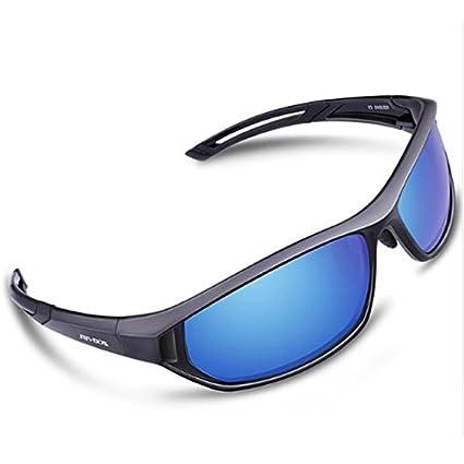 5d99021968 Black Iced Blue Lens   RIVBOS Sports Sunglasses Men Bike Bicycle Goggles  Women Polarized Lens Sun