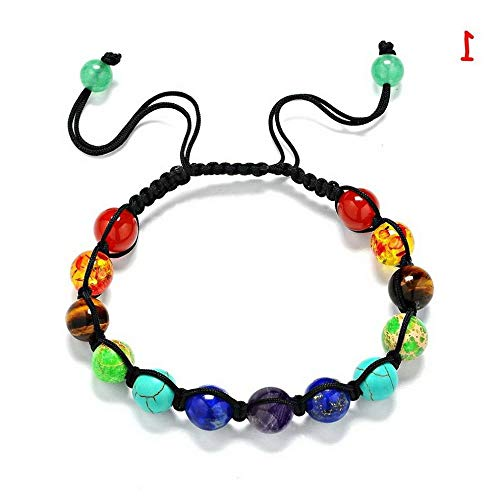 (Werrox Natural Stone 7 Chakra Bracelet Yoga Beads Bangle Healing Balance Wristbands   Model BRCLT - 23601   1)