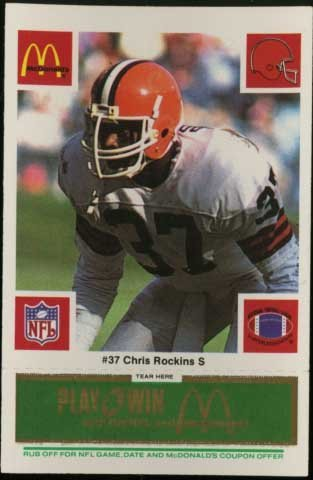 Chris Rockins - Cleveland Browns - McDonald's NFL Play & Win 1986 Football Cards - tab still attached and (Attached Tab)