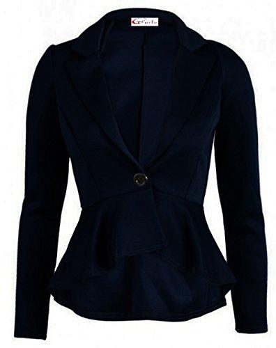 Fitted Navy Crazy Blazer Style Dip New Button Womens Jacket Hem Ladies Girls Peplum wW7qA7S1ta