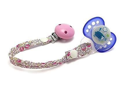 Cadena para chupete, clip rosa, Adaptador de silicona, hecho ...