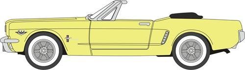Oxford Diecast 87MU65004 Ford Mustang Convertible Springtime Yellow 1:87 HO Scale Diecast Model