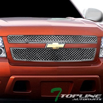 Topline Autopart Chrome Mesh Front Hood Bumper Grill Grille ABS 2 Pieces Design For 07-13 Chevy Avalanche ; 07-14 Tahoe/Suburban ()