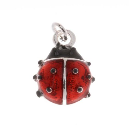 Delight Beads Silver Plated Red and Black Enamel Lady Bug Charm 14mm -