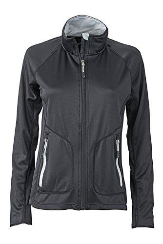 James & Nicholson–Stretchfleece Jacket Chaqueta negro/plateado