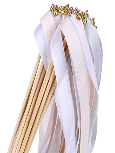 - 30pcs Ribbon Wands Party Streamers Wedding Party Activities (Peach)