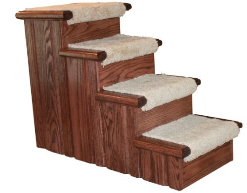 Premier Pet Steps Tall Raised Panel Dog Steps, Carpeted Tread with a Rich Cherry Stain, 23-Inch