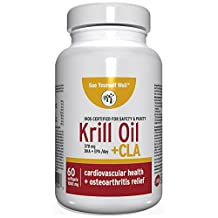 Premium Krill Oil: High Potency EPA and DHA Fatty Acids - Supports Heart, Brain, Joints, Immune System and Weight Management. Krill Oil Supplement with CLA and Astaxantin. 1000 mg, 60 Softgels
