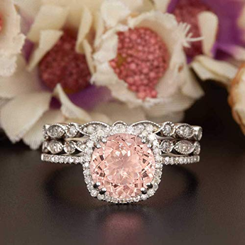 2 Carat Cushion Cut Morganite and Diamond Halo Trio Wedding Ring Set On White Gold with Engagement Ring and Two Wedding Bands
