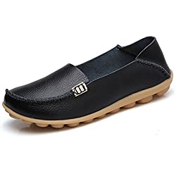 Women's Leather Loafers Shoes Wild Driving Casual Flats Black 7