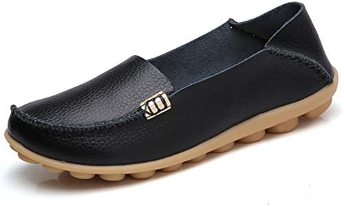 Women's Leather Loafers Breathable Shoes Wild Driving Slip on Casual Flats Oxfords