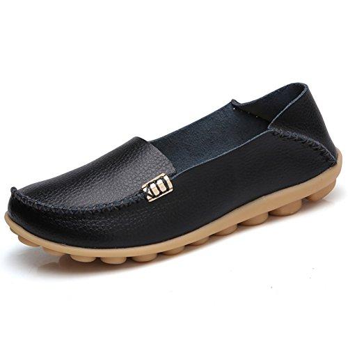 SHIBEVER Damen Leder Loafers Schuhe Wild Driving Casual Wohnungen Schwarz