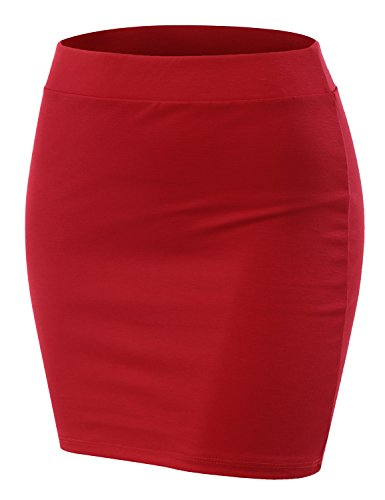 Doublju Stetch Knit Bodycon Mini Skirt for Women with Plus Size (Made in USA) RED Large