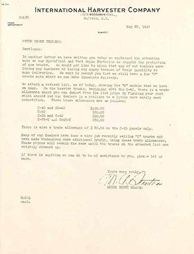 Bulletin Letter (1937 International Truck Service Bulletin & Letter Lot)