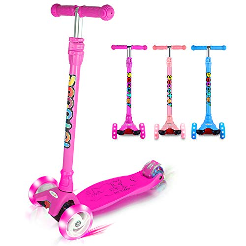 OUTON Kick Scooter for Kids 3 Wheel Lean to Steer 4 Adjustable Height Big PU Flasing Wheels Purple