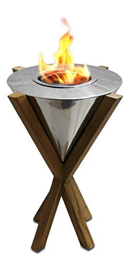My Swanky Home Luxe Freestanding Modern Teak Wood Torch Light | 14
