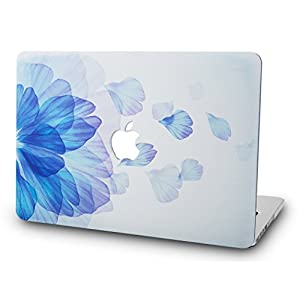 KEC MacBook Pro Retina 13 Inch Case (2015 old gen.) Plastic Hard Shell Cover A1502 / A1425 (Blue Flower)