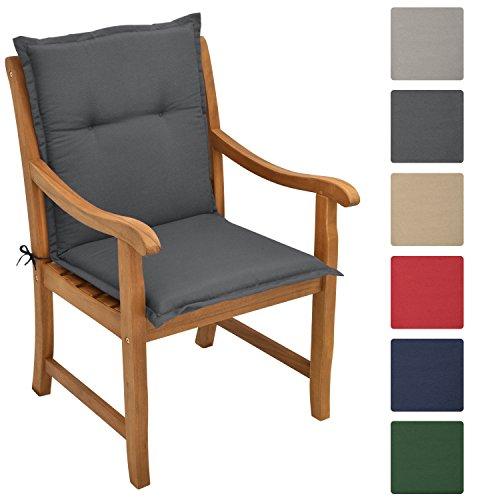 Beautissu Garden Chair Cushion Loft NL 100 x 50 x 6 cm Seatpad and Backrest with Soft Foamcore Padding Graphite Grey