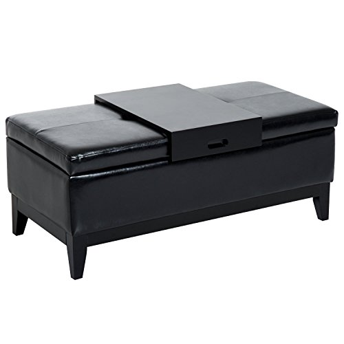 Cheap HOMCOM 42″ Rectangular Faux Leather Storage Ottoman Bench with Tray – Black
