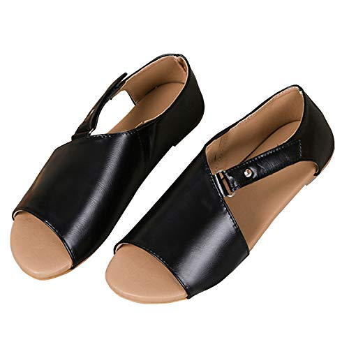 Women Flat Sandals Casual Summer Slip On Sandals Fish Mouth Slingback Peek Toe Flat Shoes Cork Sole Leather Flat Mayari Sandals