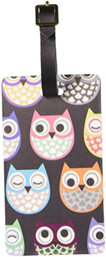 Graphics & More Cute Owl Pattern Luggage Tags Suitcase Carry-on Id, White ()