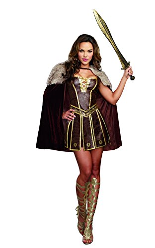 Warriors Costumes (Dreamgirl Women's Victorious Beauty Warrior Costume, Brown, Medium)