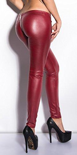 KouCla Damen Wetlook Leggings mit Zipper, Farbe:Bordeaux, Größe:M/L