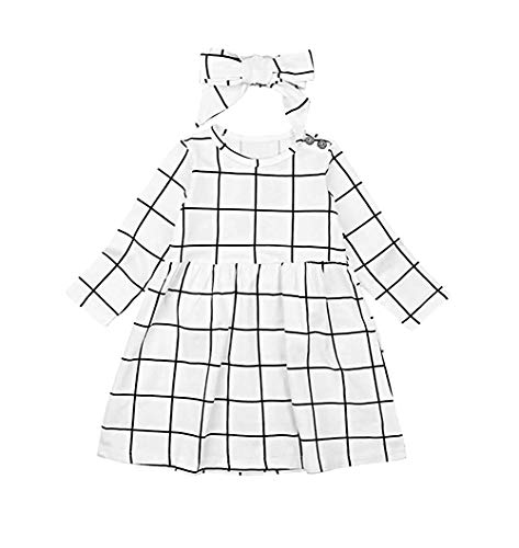 Mini honey Infant Toddle Baby Girls Dress Long Sleeve White and Black Plaid Party Princess Dresses (6-7 T, -