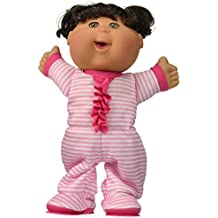 "Cabbage Patch Kids 12.5"" Pajama Dance Party Brunette Brown Skin Girl (pink & white stripe PJs)"