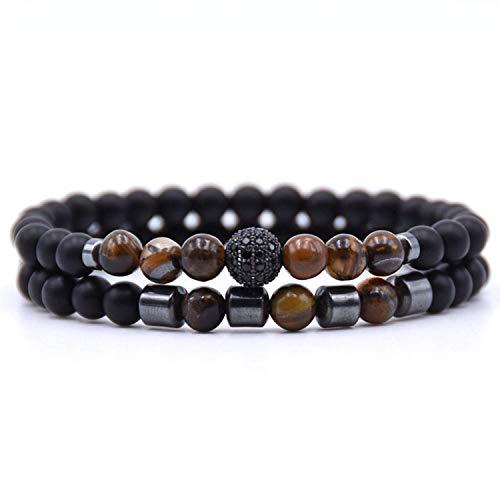 Joyhul 2PCS/Set 6Mm Popular Natural Stone Pave CZ Ball Charm Bracelet for Men Or Women Bracelets Jewelry Pulseira Pulseras,4