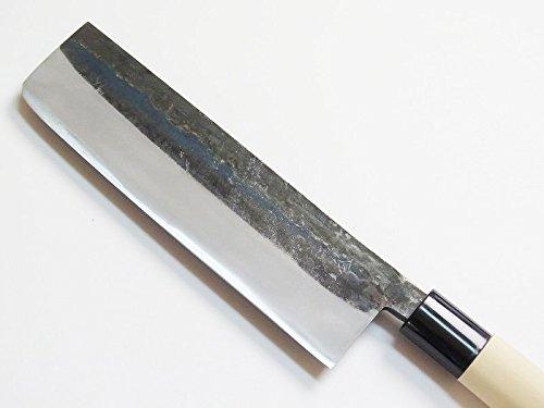 HONMAMON Nakiri Hocho (Kithcen Knife for Vegetables) 165mm, Kurouchi, Blade Edge : Aogami Steel, Double Bevel