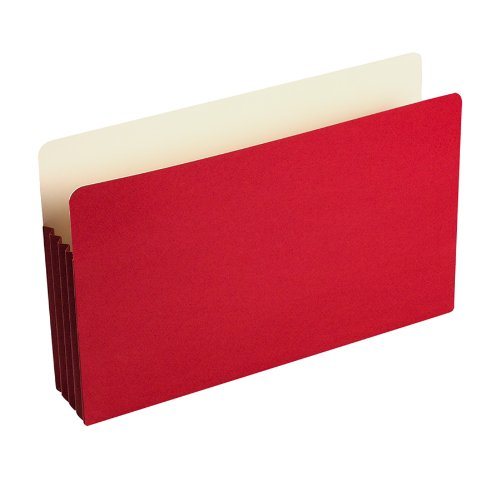 "ColorLife File Pocket, Moisture/Tear Resistant, 3 1/2"" Expansion, Legal Size (9 1/2"" x 14 3/4""), Red, 25 per box (WCC74R)"