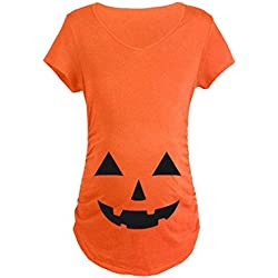 Maternity Halloween Pumpkin T Shirt Funny Pregnancy Tee For Expecting Mothers size XL (Orange)