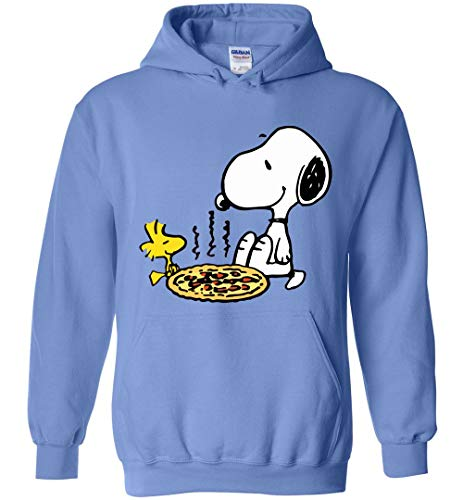 Love Pizza Hoodie Snoopy and Woodstock Carolina Blue ()