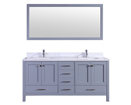 "Eviva EVVN412-72GR Aberdeen Transitional Bathroom Vanity with White Carrera Countertop & Double Square Sinks Combination, 72"", Grey - Solid wood construction, cabinet is assembled and is ready for installation Brushed Nickel hardware included Soft closing doors & drawer - bathroom-vanities, bathroom-fixtures-hardware, bathroom - 41cGbhvxJfL -"